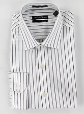 Kenneth Cole New York Mens Stripes White Button Up Dress Shirt Top Ret $69.50 N
