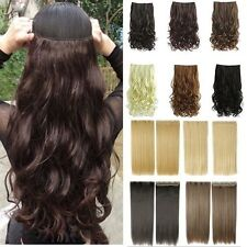 Mega Thick Clip In Hair Extensions Real Deluxe Straight Curly 3/4 Full Head Ted