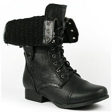 Black Faux Leather Fold Down Mid Calf Lace Up Military Combat Boots Wild Diva