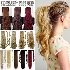 Long Ponytail Clip In Hair Extension Wrap Pony Tail Fake Hairpiece as human FSS