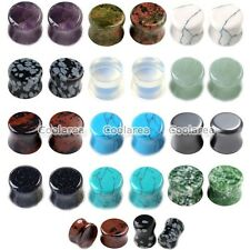 12 Pairs Natural Gems Ear Saddle Flared Plugs Tunnel Stretcher Piercing Expander