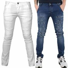 Seven Series Mens Denim Designer Skinny Ripped Skinny Fit Jeans Biker Trouser