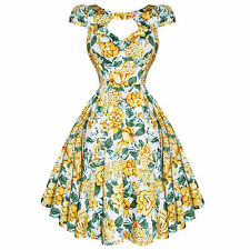 Hearts & Roses London Yellow White Floral Vintage 1950s Party Prom Summer Dress