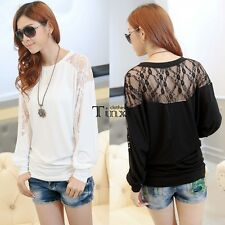 Stylish Women Batwing Long Sleeve Dolman Lace Splice Loose T-Shirt Blouse Top