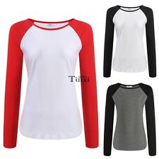 Meaneor Women Casual O-Neck Long Sleeve Patchwork T-Shirt Tops TXCL