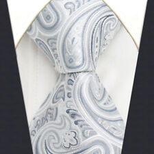 A31 Mens Neckties Ties Extra Long Size Paisley Silver Gray 100% Silk Handmade