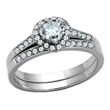 Womens Wedding Rings Heart Cut Stainless Steel Engagement Set Size 5 -10