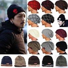 Winter Warm Crochet Knitted Beanie Cap Men Women Reversible Baggy Wool Ski Hat