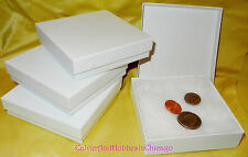 "3⅝"" x 3⅝ x 1"" White Swirl Cotton Filled Gift Boxes Jewelry Cardboard Box - New!"