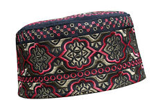 Tall Omani Arab Style African Kufi Hat Black Base Pink and Brown Embroidery