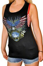 Rock & Roll Made In The USA Eagle Biker Slashed Back w Stones Loose Tank Top s-m