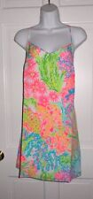 NWT LILLY PULITZER MULTI LOVERS CORAL STRAPPY SILK SLIP DUSK DRESS M
