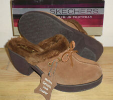 NEW SKECHERS Chestnut Brown Disco Bunny Boogie Down SHOES Clogs WOMENS 9 NIB