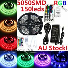5050 SMD RGB 5M LED Strip Flexible LED Light 12V DC Power Adapter IR Controller
