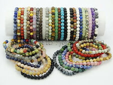 Handmade 6mm Matte Frosted Natural Gemstone Round Bead Stretchy Bracelet Healing