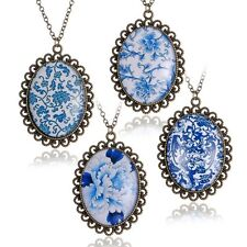 Blue White Porcelain Chinese Oval Glass Cabochon Charm Pendant Necklace Womens A