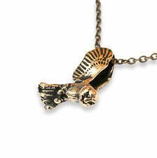 Flying Owl Necklace Bronze Owl in Flight Pendant Necklace Flying Bird Slider 435
