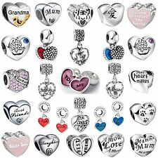Special Words Love Shape Gift Bead 925 Sterling Silver Charms For 3mm Bracelets