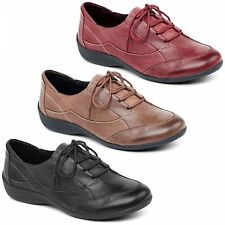 Padders GLADE Ladies Leather Extra Wide Lace Up Comfort Casual Trainers Shoes
