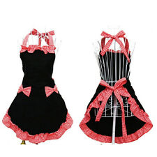 Hot Cute Bib Apron Dress Flirty Vintage Kitchen Women Bowknot With Pocket Gift
