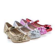 Quincy18 Children's Girl Chunky Glitter Rock Bow Mary Jane Heels