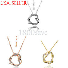 18K Gold Filled Double Love Heart Crystal Pendant + 18~20inch Necklace Chain Set