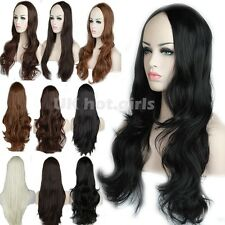 "New Synthetic 28"" Long Half Wigs Natural Hair 3/4 Wig Fall Black Brown Blonde T1"