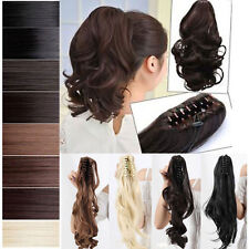 Real Thick Synthetic Tie Jaw Ponytail Clip In Pony Tail Hair Extensions Brown pt