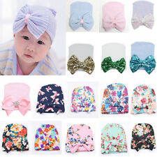 Cute Toddler Newborn  Infant Girls Baby Stripe Bowknot Beanie Hat Comfy  Cap US