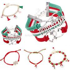 Xmas Candy Glass Beads Charming Stocking Santa Claus Deer Christmas Bracelet