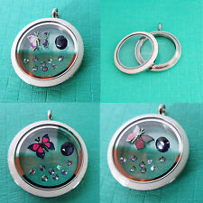 Origami Owl Twist Locket Face & Base. Paradise Shine Stardust & Butterfly Charms