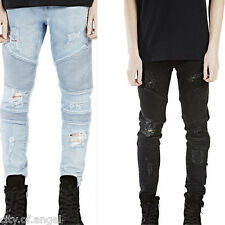 Mens Designed Straight Slim Fit Denim Jeans Trousers Ripped Casual Skinny Pants