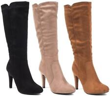NEW WOMENS LADIES KNEE HIGH STILETTO HEEL LADIES CALF BOOTS SHOES SIZE 3-8