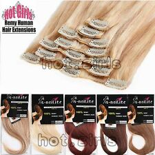 "7pcs 15""18"" 20"" 22"" Clip In Remy Real 100% Human Hair Extensions Full Head XL985"