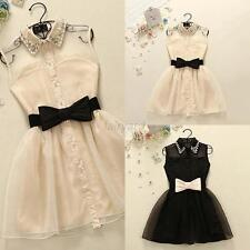 Women Sexy Lapel Skater Dress Bow Belt Skirt Party Pearl Sleeveless Gauze Dress