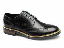Base London WOBURN Mens Leather Classic Brogue Lace Up Shoes Hi Shine Black