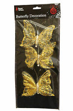 Christmas Tree Butterfly Decorations (Gold & Silver Colours) Clip on Butterflies