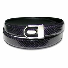 Men's Snake Skin Belt PURPLE Genuine SnakeSkin Mens Bonded Leather Belt & Buckle