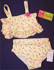 NWT Penelope Mack Girl's 2 Pc. Yellow Floral Swimsuit Bathing Suit, 4