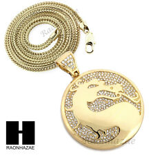 "Men Iced Out Dragon Round Pendant w/ 4mm 36"" Franco Chain Necklace FS023"