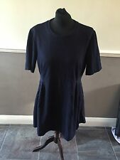 Gorgeous Whistles Navy Blue Short Sleeve Textured Jersey Dress UK 16 Worn Twice!