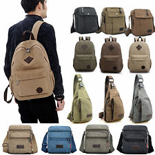 Mens Retro Canvas Backpack Shoulder Bag Satchel Travel Hiking School Messenger