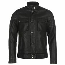 Firetrap Mens Blackseal PU Biker Jacket Chest Pockets Buckle Zip and Button Top