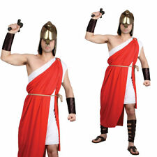 Adults Roman Costume Spartan Warrior Toga Deluxe Mens Fancy Dress
