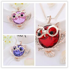 Vintage  Round shape Pendant Tide Owl  necklace Statement Rhinestone Hot Chain