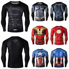 Men's Compression Marvel Superhero T-Shirts Slim Gym Sport Bicycle Jersey Top