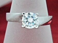 Women's 1.0 ct Simulated Diamond Promise, Engagement Ring 14k Solid White Gold