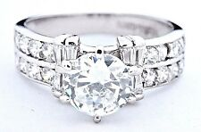 Diamond Wedding Solitaire w/ Accents Ring 2.0 ct Round Cut 14k Solid White Gold