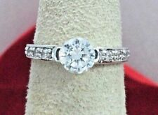 Women's 1.0 ct Simulated Diamond Promise Engagement Ring 14k Solid White Gold