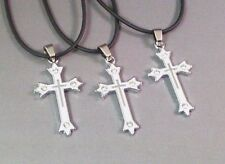Christian Pendant Enameled White Silver Cross-on-Cross Crystal Accent LOW STOCK!